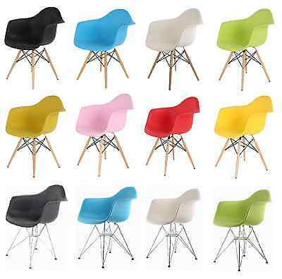 New Retro Wooden/Metal Plastic Dining Office Lounge Chair Armchair