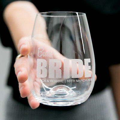 BOLD Personalised Favours Stemless Wedding Wine Glasses - Bride or Bridesmaid