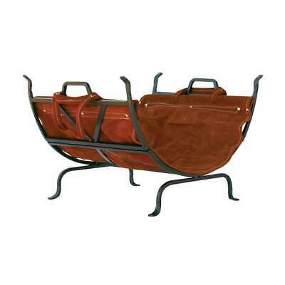 Uniflame Olde World Iron Log Holder w/ Suede Leather Carrier - W-1189