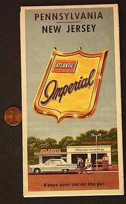 1964 Atlantic Oil Gas service station Pennsylvania-New Jersey Tourgide road map!