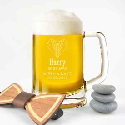 Personalised Favours Engraved Beer Mug for Groomsmen - Father of the Bride Gift