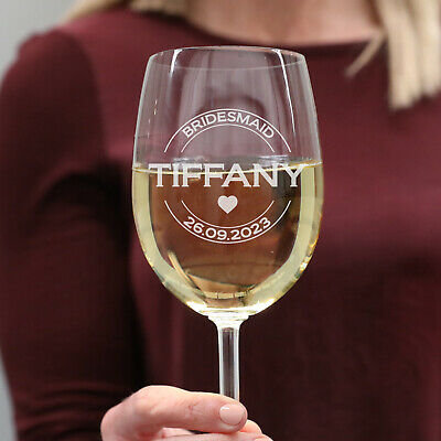 Personalised Favours Customised Wine Glass Set - Wedding Bridal Party - Engraved