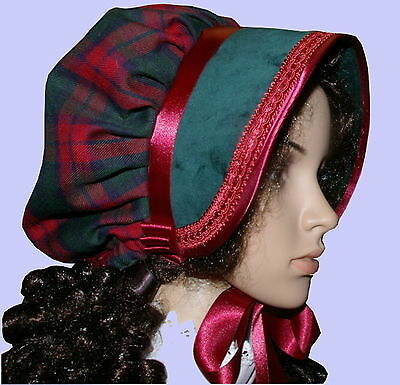 Victorian ladies bonnet costume fancy dress Dickensian Christmas carol singer bg