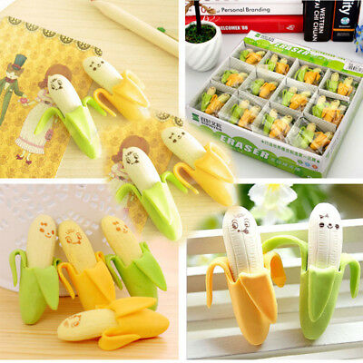 20PCS Cute Banana Fruit Style Rubber Pencil Eraser Gifts Toy For Students Kids