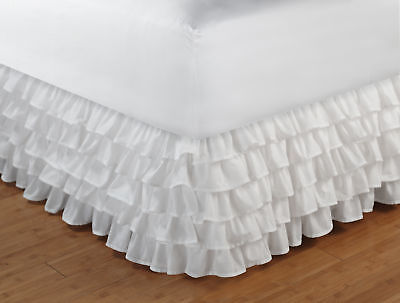 Greenland Home Fashions - Multi-Ruffle Bed Skirt 15 Inch Full White GL-1110KBSF