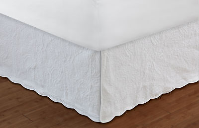 Greenland Home - Paisley Quilted Bed Skirt 18 Inch Full White GL-1404AF New