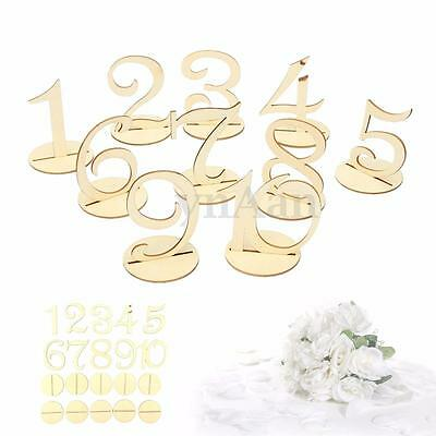 Freestanding Wooden 1-10 Set Table Numbers w/ Base Wedding Birthday Party Decor