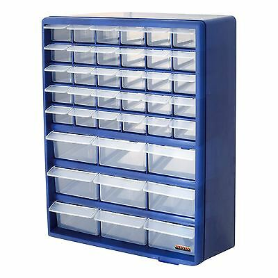 Multi Compartment 39 Drawer Organiser Cabinet Garage Home DIY Tools Storage Blue