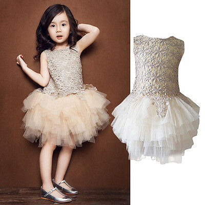 Kids Toddler Baby Girls Princess Pageant Wedding Party Flower Tulle Tutu Dresses