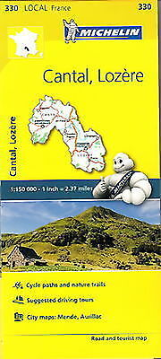 Michelin Map 330 Cantal Lozere France Local Road and Tourist