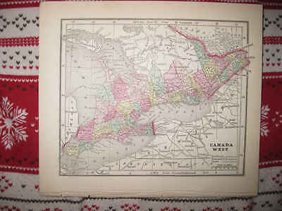 Early Antique 1856 Canada West Morse Handcolored Map Kingston Hamilton Indian Nr