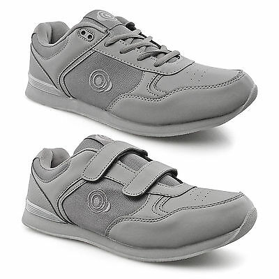 Mens New Velcro Lace Up Bowls Bowling Shoes Trainers Grey 6 7 8 9 10 11