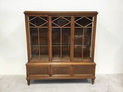 Antique Edwardian Walnut French 3 Door Display Cabinet Good Design Nice Quality