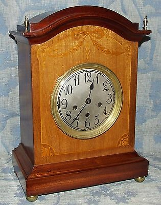 Antique Inlaid Mahogany Westminster Chime Bracket Mantel Clock : CHIME / SILENT