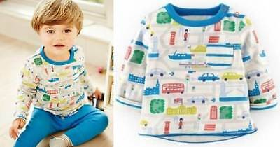 Mini Baby Boden boys London print reversible tee top shirt age 3 - 24 months