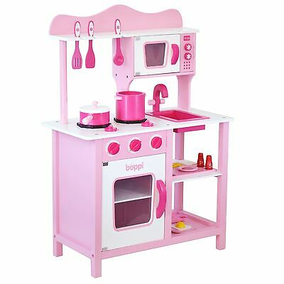 Childrens Girls Pink Wooden Toy Kitchen with 20 piece Accessories Pretend Set