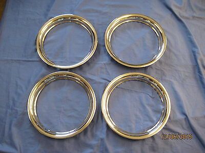 """MG NEW SET MGB 14"""" ROSTYLE chrome STAINLESS STEEL WHEEL TRIMS 1969 TO 1980 ***O"""