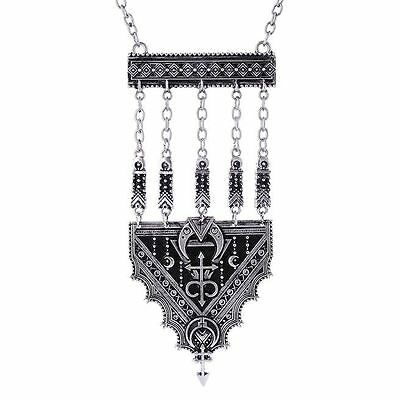 Restyle Henna Pattern Moon Alchemical Symbol Boho Occult Witch Pendant Necklace