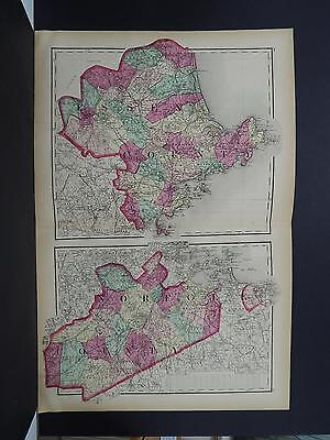 Massachusetts Antique Map 1871 Essex Norfolk Counties NOT A REPRODUCTION Y15#95