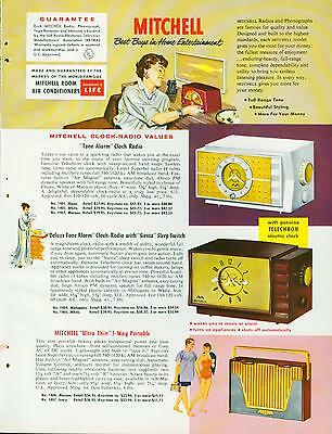 Catalog Page Ad Table Radios Transistor Mitchell Bel Aire Fiesta Rondeau 1956