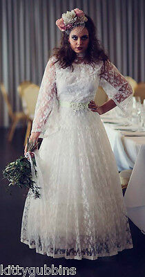"Stunning Vintage 1970S Wedding Bridal Dress Full Length Lace Fab Detail 34"" Bust"