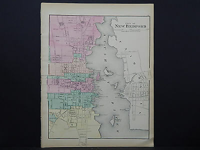 Massachusetts, Antique Map, 1871, City of New Bedford NOT A REPRODUCTION Y16#05