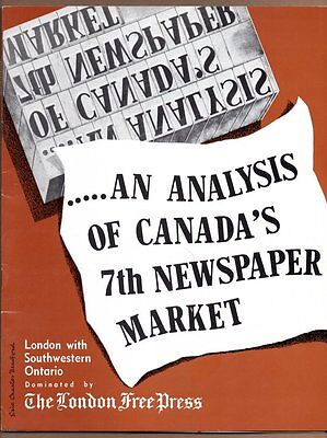LONDON FREE PRESS CANADA 7TH NEWSPAPER MARKET Ontario 1958 Advertising Brochure