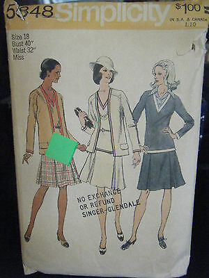 Simplicity 5848 Misses Unlined Cardigan & 2 Piece Dress Pattern - Sz 18 Bust 40