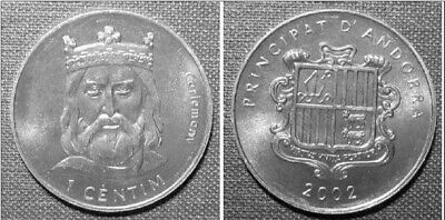 Andorra 2002 1 Centim Uncirculated  - Charlemagne (KM176)