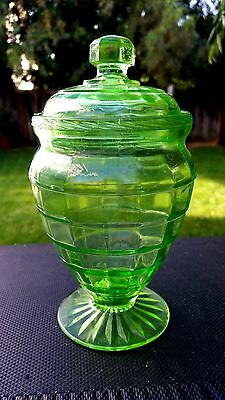 Green Block Optic Tall Candy Jar Lid And Bottom