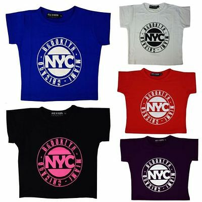 Kids Girls NYC BROOKLYN MIAMI CHICAGO Print Crop Top T Shirt Age 7-13 Years