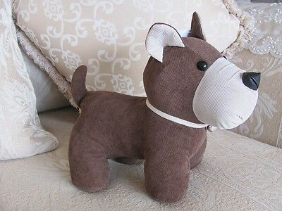 Shabby French Provincial Brown Fabric Cute Dog Terrier Door Stop Stopper