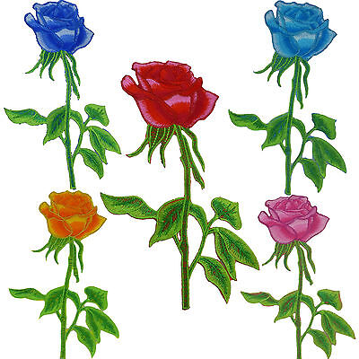 5 Colors Embroidered Cloth Iron on Patch Sew Motif Flower Rose Sequin Appliques