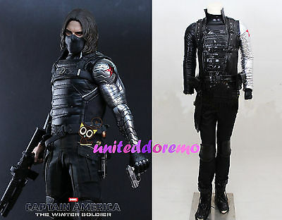 Captain America  Winter Soldier Bucky Barnes Cosplay Costume Customized Full Set
