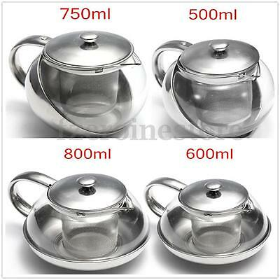 Stainless Steel Glass Faced Infuser Tea Herbal Teapot 500/ 600/ 750/ 800ml Home