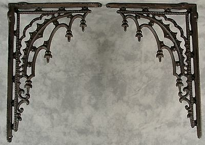 2 ARCHITECTURAL GOTHIC RENAISSANCE Cast Iron SHELF BRACKETS WALL CORNER BRACKETS