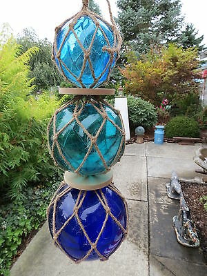 "3""4""5""  Blues Trio Curio Glass Floats Balls Buoys Bouys Net Floats"