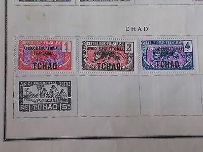 3 Different Chad Afrique Equatoriale Francaise Tchad Overprints/Hinged/Unused