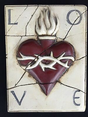 """Sid Dickens Canada Memory Block Tile PQ Sacred Heart LOVE RETIRED 6"""" by 8"""""""