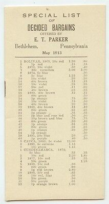 1913 Bethlehem Pennsylvania E T Parker Stamps Price List