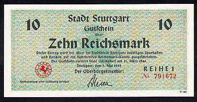 Germany Stadt Stuttgart WWII 1945 UNC Note 10 Mark Rare