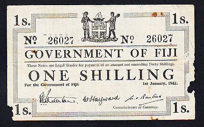 Fiji  Shilling 1942  WWII  Emergency Issue P. 49a