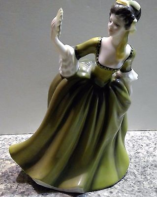 ROYAL DOULTON Simone HN2378 Girl In Green Dress & Fan Figurine 1970 Retired