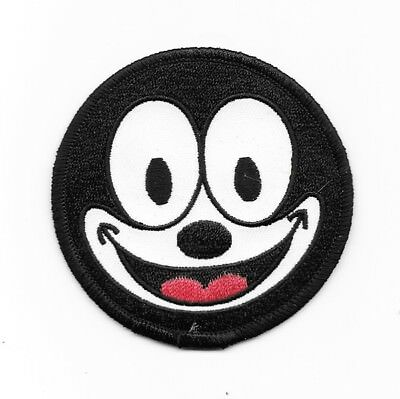 Felix the Cat Smiling Face Animated Art Embroidered Circle Patch, NEW UNUSED