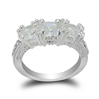 Wedding Bride 10K Gold Filled White Sapphire Ring Size 6-9 Engagement Jewelry