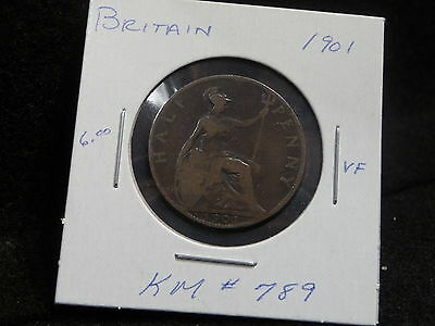 Uk (Great Britain):  1901  Half Penny   Victoria    (Vf.)   (#126)  Km # 789