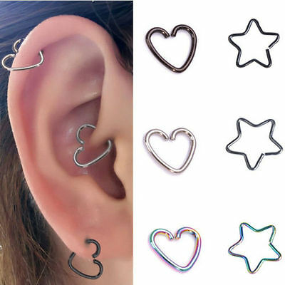 Stainless Steel Heart Ring Piercing Hoop Earring Helix Cartilage Tragus Daith 10