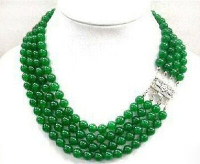 """Beautiful 4 Rows 8mm Natural Green Jade Round Gemstone Beads Necklace 17-18"""" AAA"""