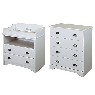 South Shore Fundy Tide Changing Table and 4-Drawer Chest- Pure White - 9023A2