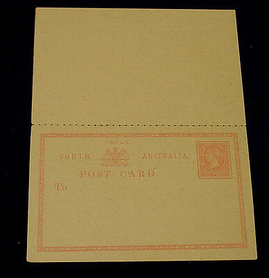 South Australia. 1d Red Queen Victoria Postcard & Reply Card.